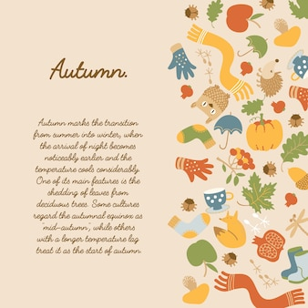 Abstrakte herbstdekorative schablone mit text und traditionellen saisonalen elementen