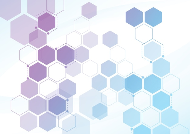 Abstrakte hexagonale molekulare strukturen in der technologie