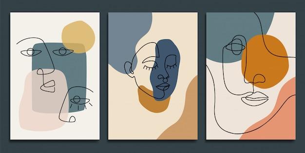 Abstrakte hintergründe mit minimalen formen und strichzeichnungen.