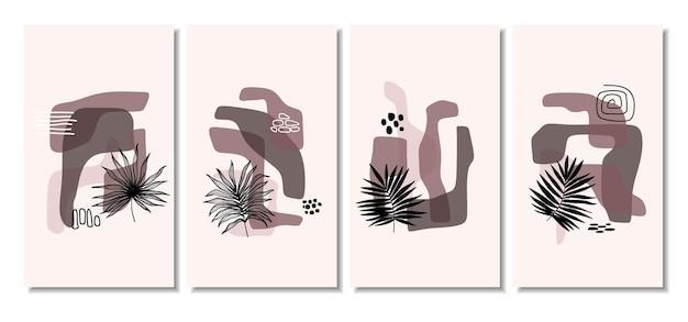 Abstrakte hintergründe mit minimalen formen und strichzeichnungenblatt.