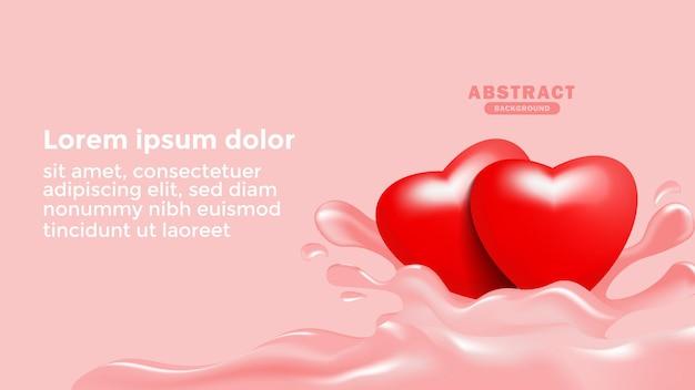 Abstrakte hintergrundschablone mit realistischer liebes-herz-illustration 3d roter liebes-herz-hintergrund