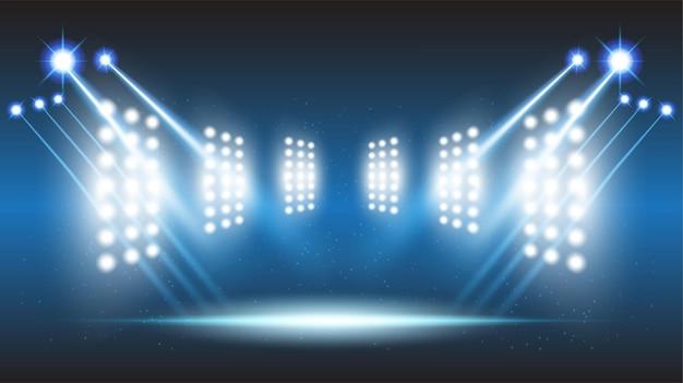 Abstrakte hintergrundstadionbühnenhalle mit szenischen lichtern der runden futuristischen technologie