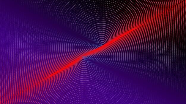 Abstrakte hintergrundtechnologie punktpartikel rote und blaue lichtspirale welle