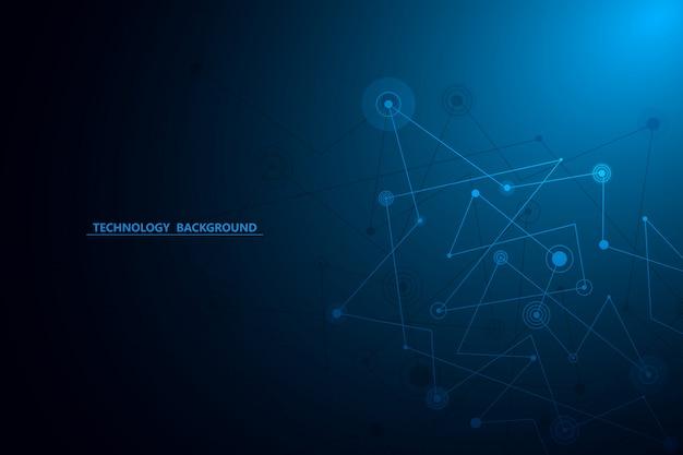 Abstrakte hintergrundtechnologie und wissenschaftsgrafikdesign. punkte und linien verbinden. internetverbindung. globale netzwerkverbindung.