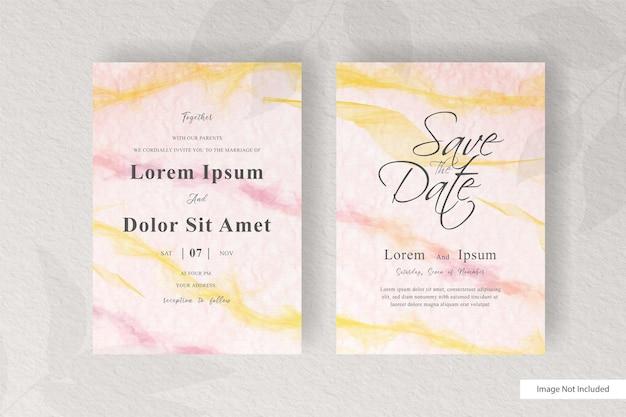 Abstrakte hochzeitseinladungskartenschablone mit eleganter aquarelldekoration