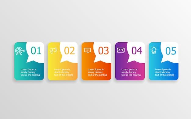 Abstrakte horizontale balken-zeitleisten-infografikschritte für präsentation oder bericht