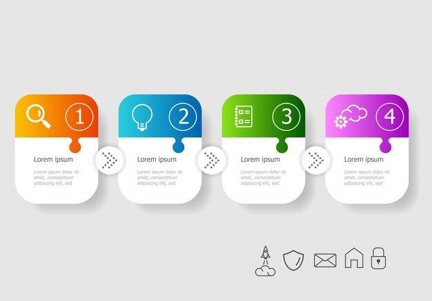 Abstrakte horizontale infografiken illustration