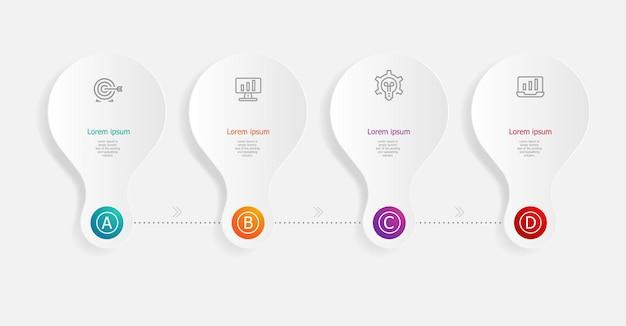 Abstrakte horizontale infografiken schritte für geschäft und präsentation
