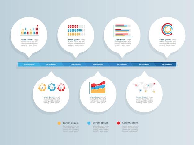 Abstrakte horizontale zeitachse infografiken statistik elemente präsentation vektor-illustration hintergrund
