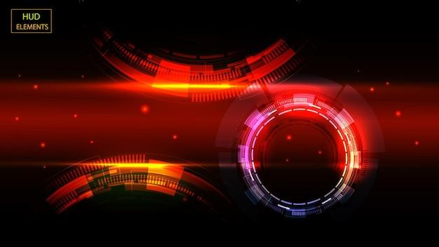 Abstrakte hud-benutzeroberfläche aus leuchtenden futuristischen elementen. eps 10.