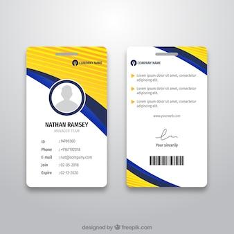 Abstrakte id-kartenschablone mit flachem design