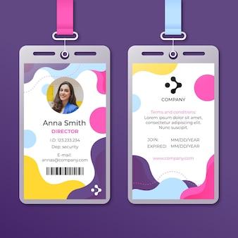 Abstrakte id-kartenschablone mit foto