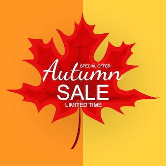 Abstrakte illustration autumn sale background mit fallendem autumn leaves.