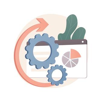 Abstrakte illustration der alt-tag-optimierung im flachen stil