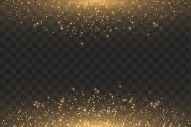 Abstrakte illustration der goldenen wolkenglitterwelle. funkelnde partikel der weißen sternstaubspur lokalisiert auf transparentem hintergrund.