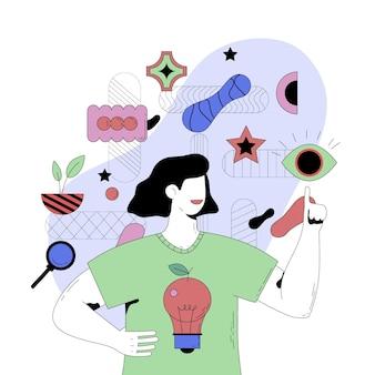 Abstrakte illustration der person, die ideen hat