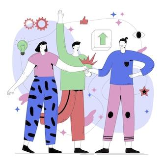 Abstrakte illustration der person, die mit teamkollegen spricht