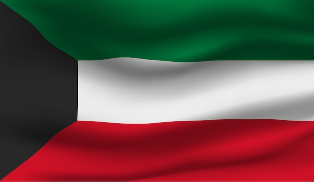 Abstrakte illustration der wehenden kuwaitflagge