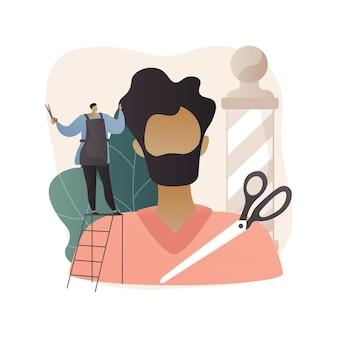 Abstrakte illustration des barbershop im flachen stil