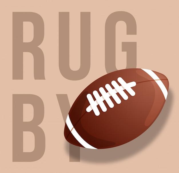 Abstrakte illustration des rugbyballs auf sandhintergrund. text rugby. .
