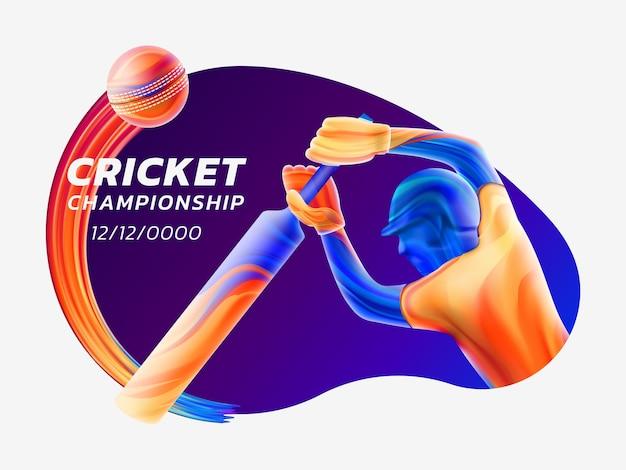 Abstrakte illustration des schlagmanns, der cricket von farbigen flüssigkeitsspritzern spielt Premium Vektoren