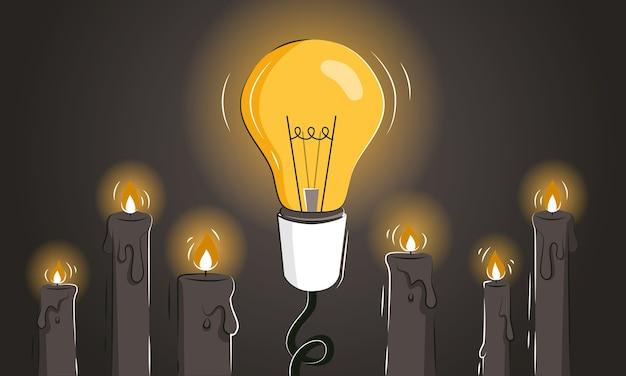 Abstrakte illustration des spielwechslers mit einer glühbirne unter kerzen als konzept der innovativen ideen