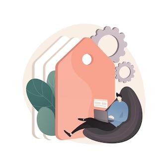 Abstrakte illustration des tag-managements im flachen stil