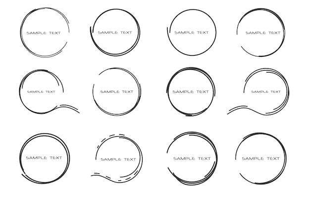 Abstrakte illustration gezeichnete runde rahmen für text sprechblasen