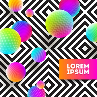 Abstrakte illustration - mehrfarbiger ball auf einem geometrischen schwarzweiss-hintergrund.