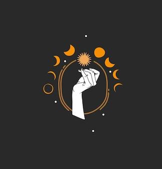 Abstrakte illustration mit branding-logo, böhmische magische linienkunst von sonne, sternen, mondphasen
