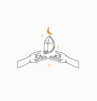 Abstrakte illustration mit logo-element, magischer strichkunst aus kristallstein, menschlichen händen und stern