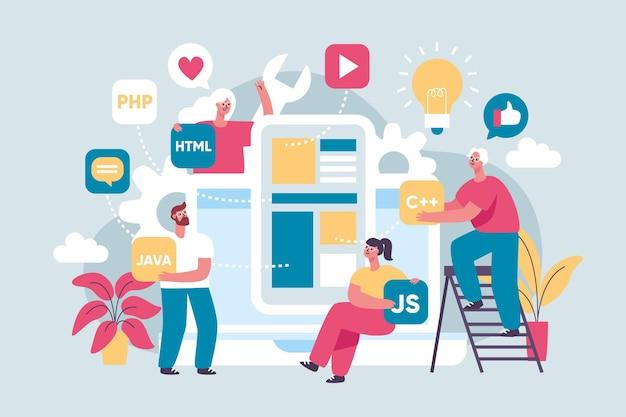 Abstrakte illustration von personen, die an einer app arbeiten
