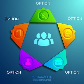 Abstrakte infografik-webschablone mit fünf optionen und symbolen des bunten fünfeckigen geschäftsdiagramms