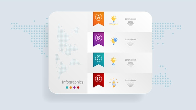 Abstrakte infografiken 4 schritte