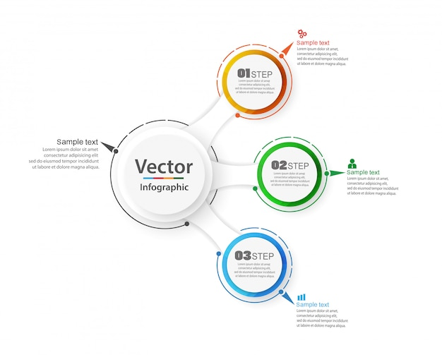 Abstrakte infografiken anzahl optionen vorlage mit 3 schritten