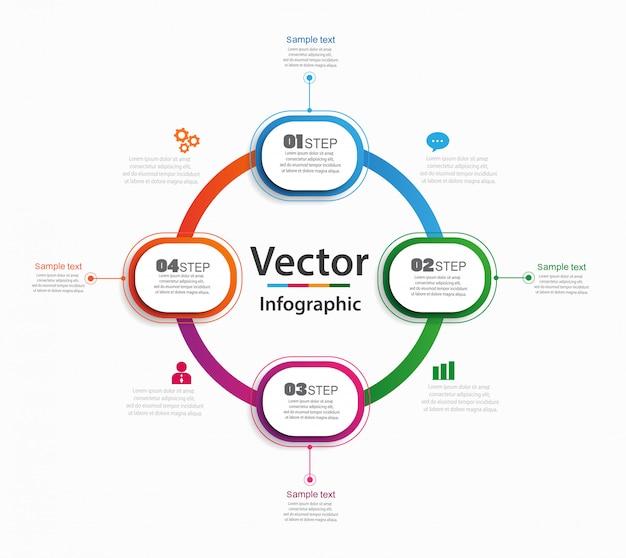 Abstrakte infografiken anzahl optionen vorlage mit 4 schritten