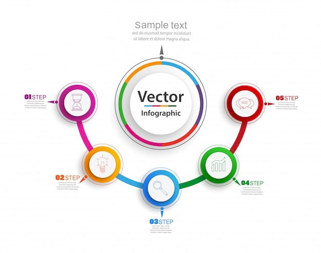 Abstrakte infografiken anzahl optionen vorlage mit bunten kreisen und schritten