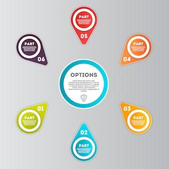 Abstrakte infografiken anzahl optionen vorlage