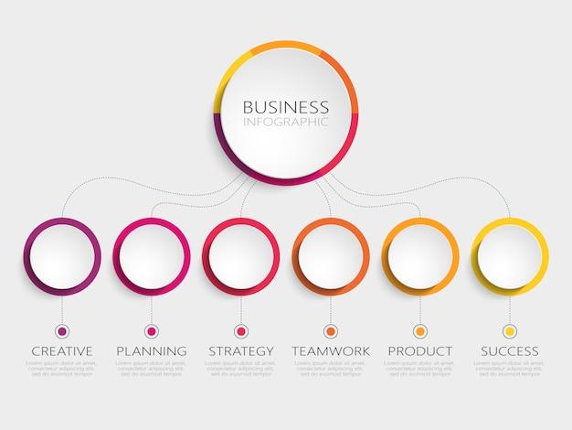 Abstrakte infographic-schablone 3d mit 6 schritten für erfolg