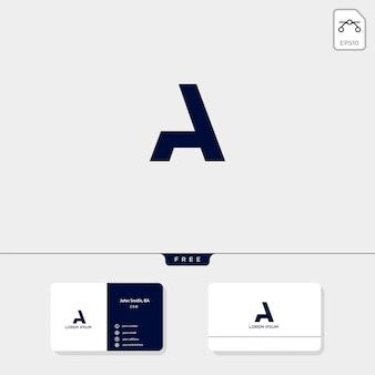 Abstrakte initiale a, logoschablone und visitenkarteentwurf umfassen
