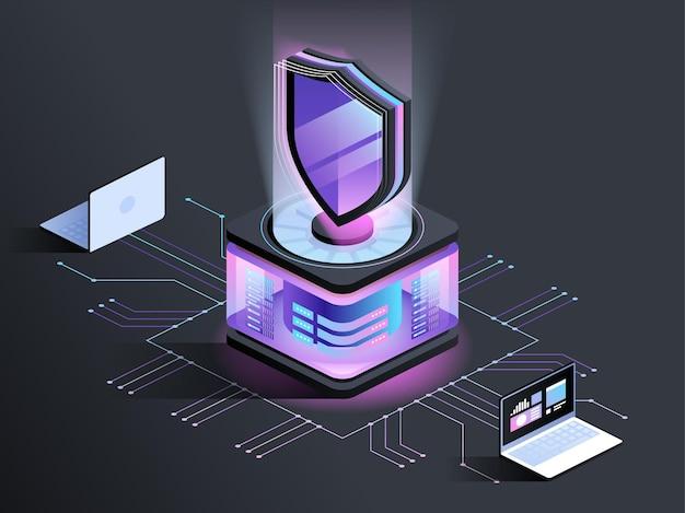 Abstrakte isometrische darstellung des antivirenprogramms. cybersicherheit, datenverschlüsselungstechnologie dunkle farbe 3d-konzept. malware-sicherheitssoftware. hackerangriff und schutz vor unbefugtem zugriff