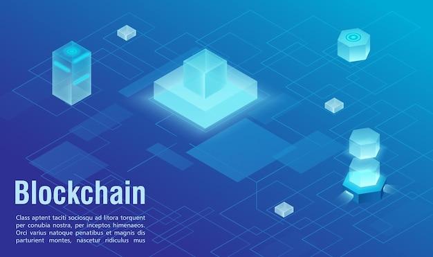 Abstrakte isometrische vektorillustration der blockchain-technologiestruktur