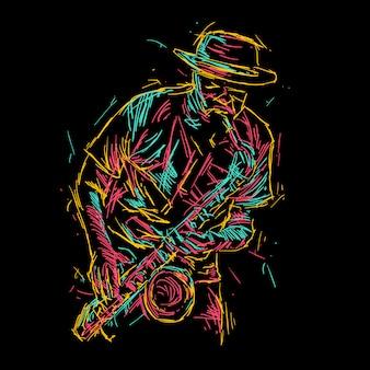 Abstrakte jazz-saxophon-spielerabbildung
