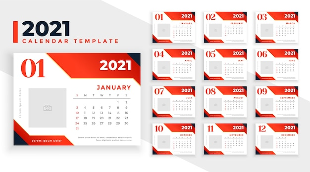 Abstrakte kalendervorlage 2021 im roten farbthema