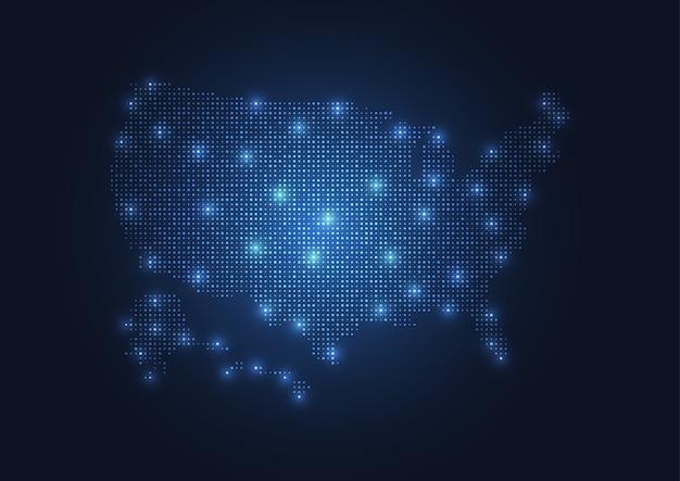 Abstrakte karte der vereinigten staaten von punkten erstellt