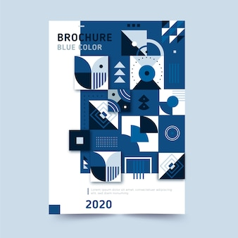 Abstrakte klassische blaue broschürenschablone