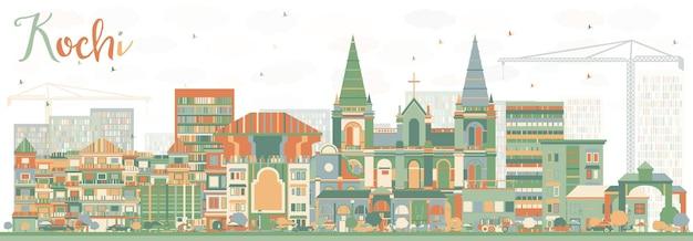 Abstrakte kochi skyline mit farbgebäuden.