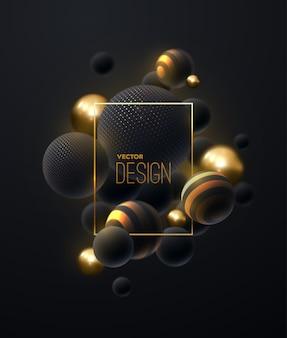 Abstrakte komposition mit schwarzen und goldenen blasen