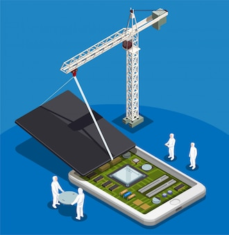Abstrakte komposition von halbleitern mit personen in speziellen arbeitsanzügen, die mit der montage von isometrischen smartphones beschäftigt sind