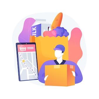 Abstrakte konzept-vektorillustration des lebensmittelabholservice. online-bestellung von lebensmitteln, virengeschütztes einkaufen, frische und sichere produkte, express-lieferung von lebensmitteln, abstrakte metapher für e-commerce.